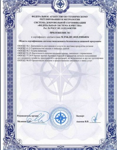 Приложение №1 к сертификату соответствия №FSK.RU.0018.F0004834 ООО «Тверь Премьер Кейтеринг».